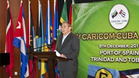 Raúl interviene en la Cumbre CARICOM-Cuba