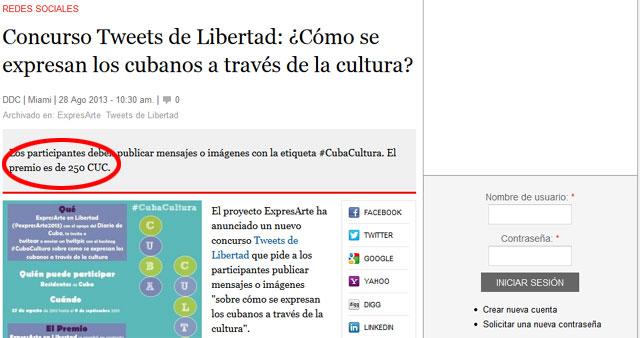 Así muestra Diario de Cuba su promocionado concursito para pagar tweets contra Cuba.