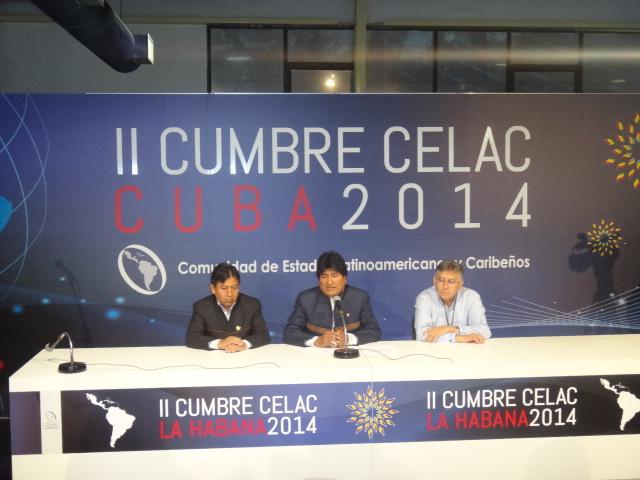Evo Morales ofrece Conferencia de Prensa en II Cumbre de la CELAC. Foto: Luis Ernesto/Visión desde Cuba.