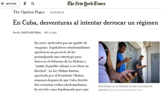 Nuevo artículo sobre Cuba en The New York Times