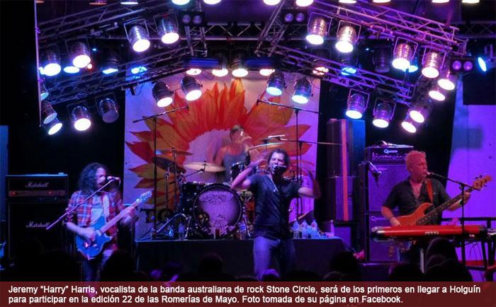 "Jeremy ""Harry"" Harris, vocalista de la banda australiana de Rock Stone Circle, estará en Holguín"
