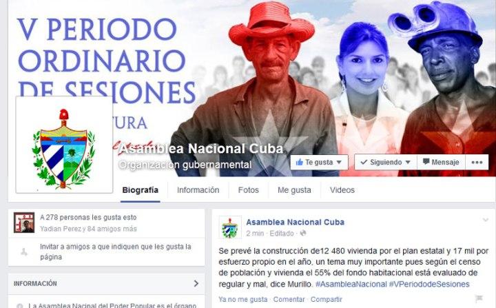 Página de la Asamblea Nacional del Poder Popular en Facebook.