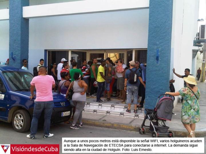 Sala de navegación de ETECSA en Holguín