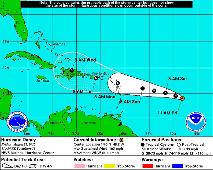 Cono de probable trayectoria del huracán Danny. CENTRO NACIONAL DE HURACANES MIAMI FL
