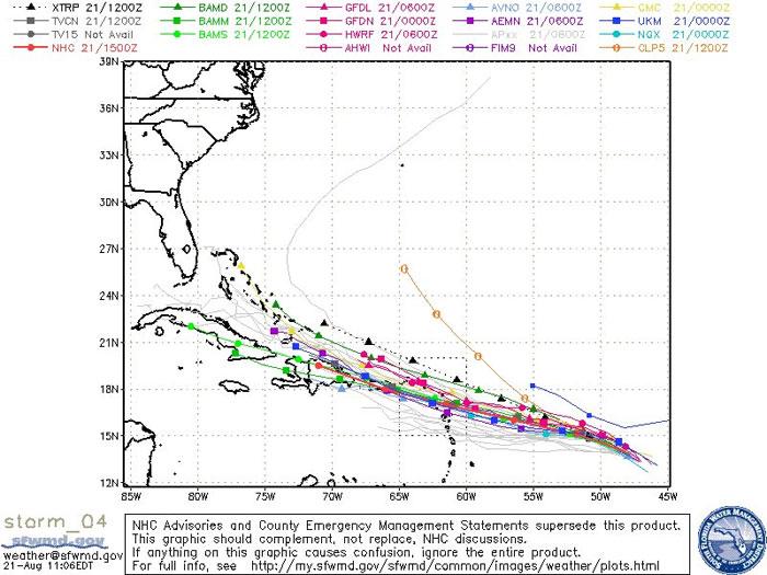 Modelos con posibles trayectorias del huracán Danny. CENTRO NACIONAL DE HURACANES MIAMI FL