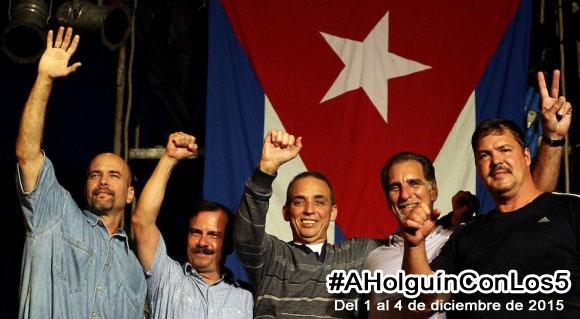 Convoca el ICAP a Encuentro de los Cinco Héroes con el Pueblo Holguinero y los Amigos del Movimiento de Solidaridad con Cuba del 1 al 4 de diciembre. Diseño: Luis Ernesto.