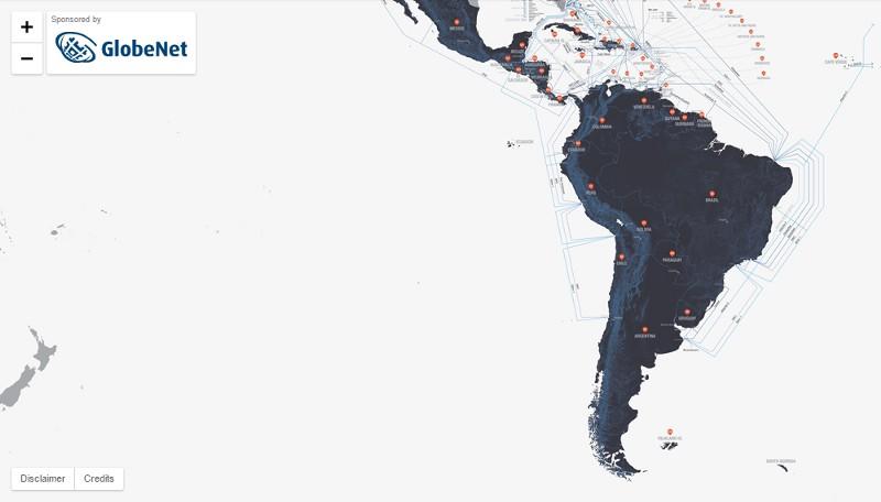 Mapa de los cables submarinos en América Latina. Infografía: Nick Browning, Markus Krisetya, Larry Lairson, Alan Mauldin / TeleGeography