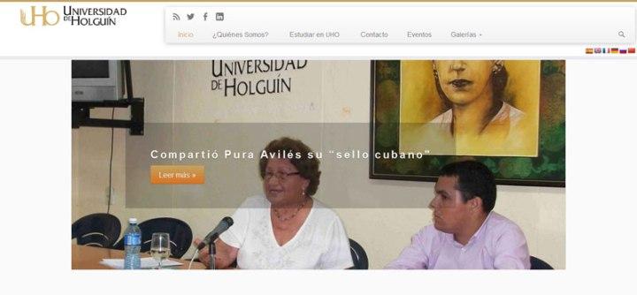 Captura de la nueva web de la Universidad de Holguín.