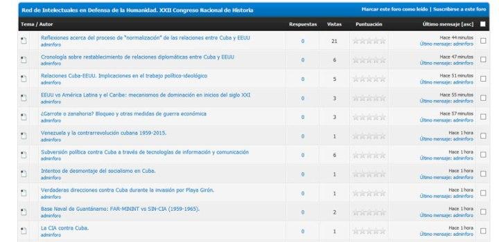 Algunos de los temas abiertos en foro debate convocado por Congreso Nacional de Historia que comienza en Holguín.