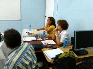 Los Doctores en Ciencias Carmen Almaguer (oponente), Rosa Margarita Rodríguez y Luis Orlando Aguilera (tutores) en la defensa de la Tesis de la Lic. Nelvis Reyes Fernández.