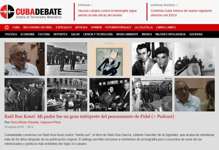 Captura de la edición de Cubadebate del viernes 26 de agosto de 2016.