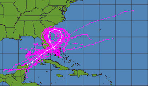 De acuerdo con los modelos de pronósticos, Matthew hará un lazo de 360 grados para volver sobre la Florida y avanzar en dirección al sureste convertido en potencial amenaza para el Occidente de Cuba