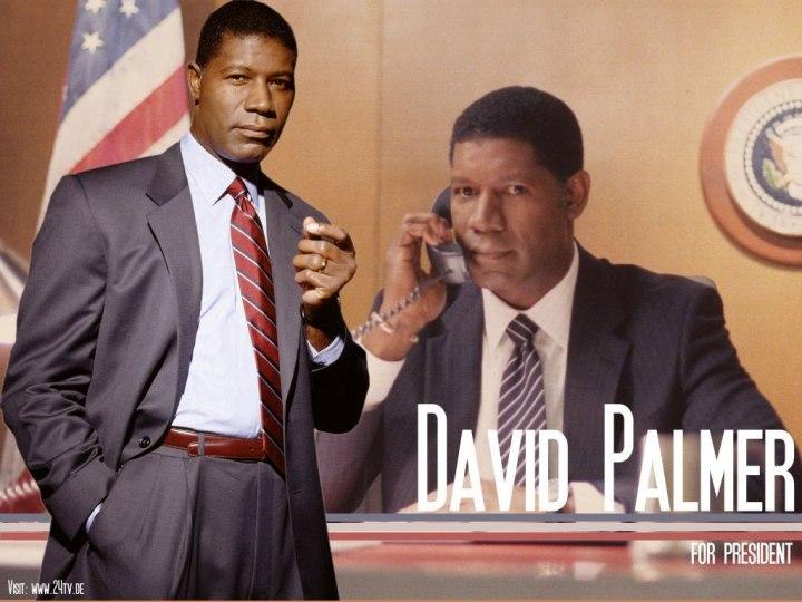 El primer presidente negro fue David Palmer, que aparece desde la primera temporada de 24 junto a Jack Bauer. Es demócrata, joven, decente y muy buen estratega.