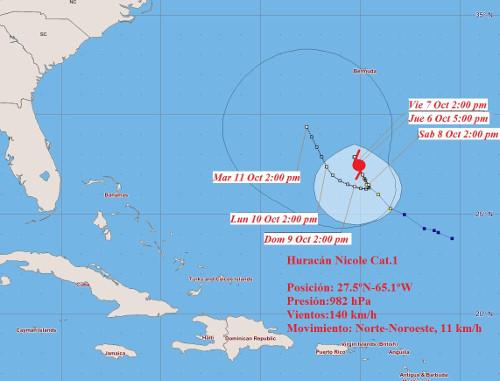 Nicole rumbo a Bermudas convertido en huracán categoría 1. /Insmet