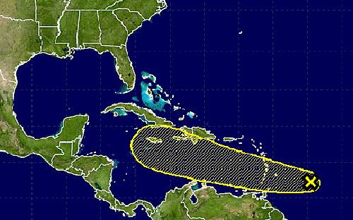 Trayectoria pronosticada de la onda tropical en los próximos cinco días.