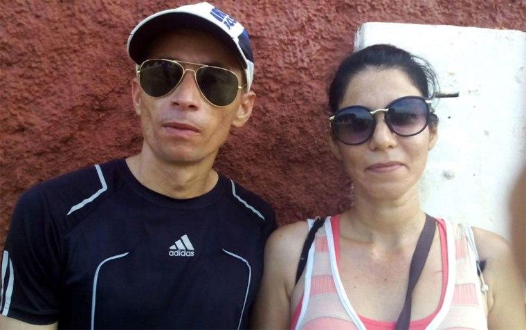 Raidel con Doraidis Torres, su esposa. Foto: Arnaldo Vargas Castro.