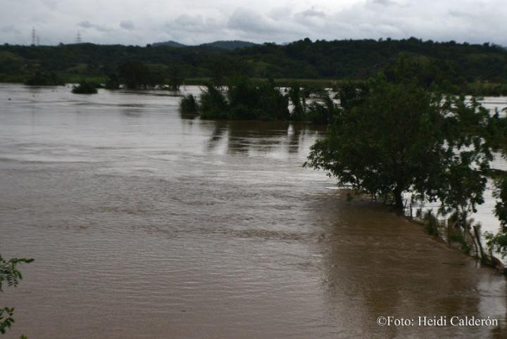 Inundaciones por la crecida del Río Sagua, en el municipio de Sagua de Tánamo, provincia de Holguín, tras paso del Huracán Matthew por el oriente de Cuba. Fotos Heidi Calderón Sanchez.