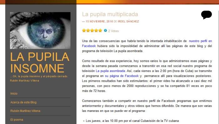 Captura del blog La pupila insomne, de Iroel Sánchez.