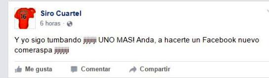 Uno de los más recientes posts de Siro Cuartel en Facebook.