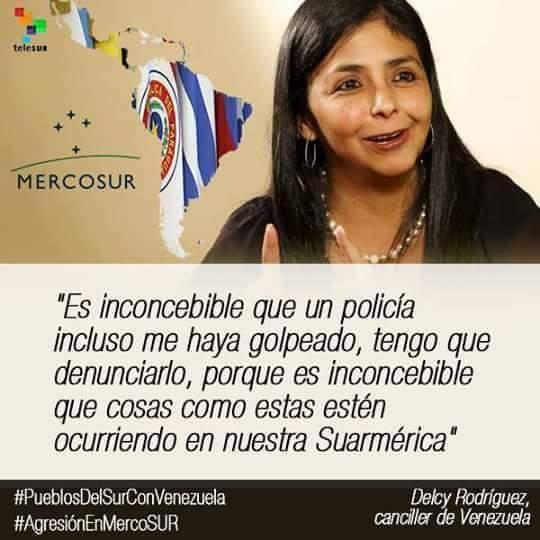 Escándalo internacional la agresión del gobierno argentino a la canciller de Venezuela Delcy Rodríguez.