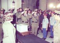 Fidel en el acto por el 50 aniversario de la constitución del Partido Comunista por Mella. Agosto de 1975.
