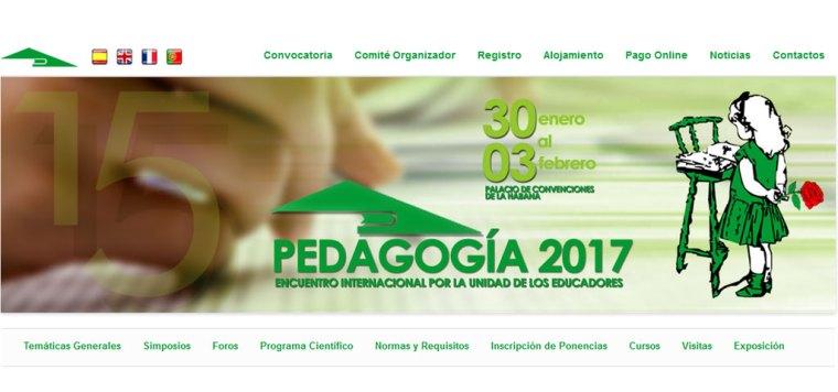Captura del Sitio Oficial del Congreso Pedagogía 2017.