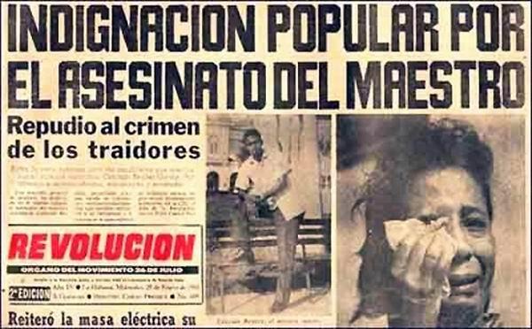 Plana del periodico Revolución informando del asesinato de Conrado Benitez.