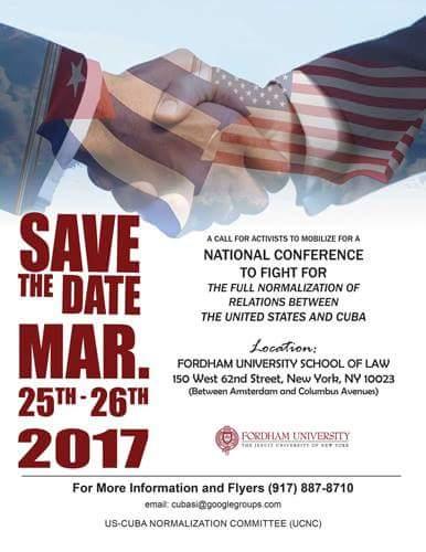 Evento de solidaridad con Cuba los días 25 y 26 de marzo próximo en Nueva York.