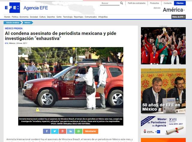 Así reportó EFE el asesinato de la periodista mexicana.