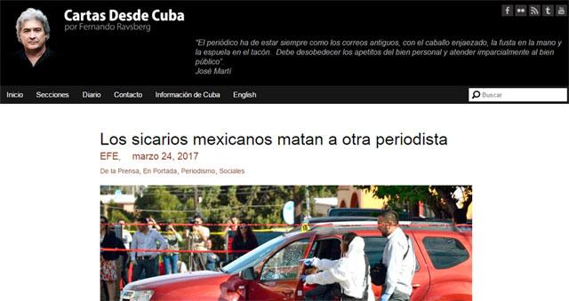 Este es el titular con el que Cartas desde Cuba reporta el mismo suceso.