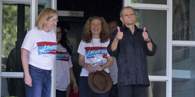 Oscar López Rivera, ¡al fin libre! Foto: Alba Ciudad.