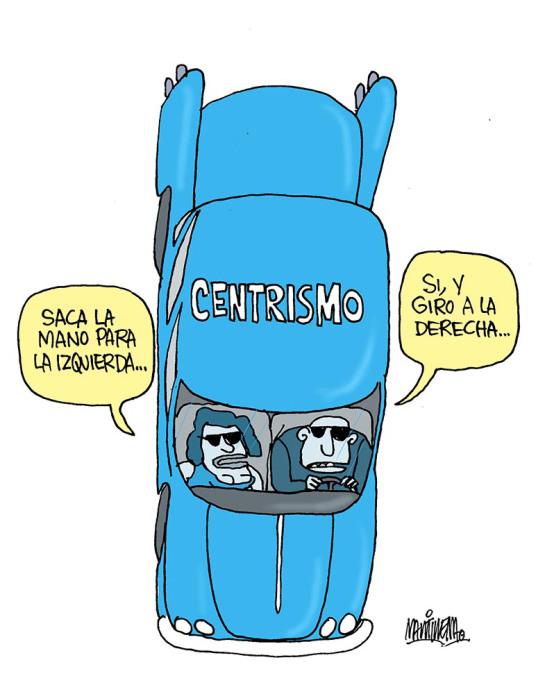 El giro del centrismo. Caricatura: Martirena.