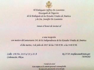 Invitación enviada por la Embajada de Estados Unidos en Cuba.
