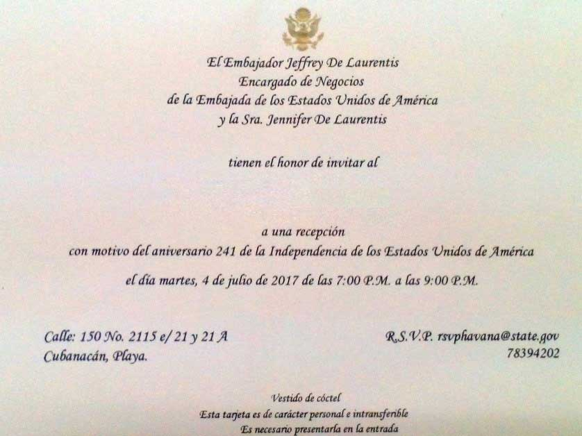 Invitación enviada por la Embajada de Estrados Unidos en Cuba.
