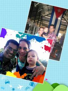 Liudmila, Abdiel y Alex, su pequeño hijo
