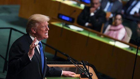 Donald Trump reiteró en la Asamblea General de la ONU que no levantará bloqueo a Cuba. Foto: Jewel Samad / AFP