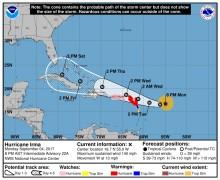 Cono de trayectoria de Irma, según NOAA.