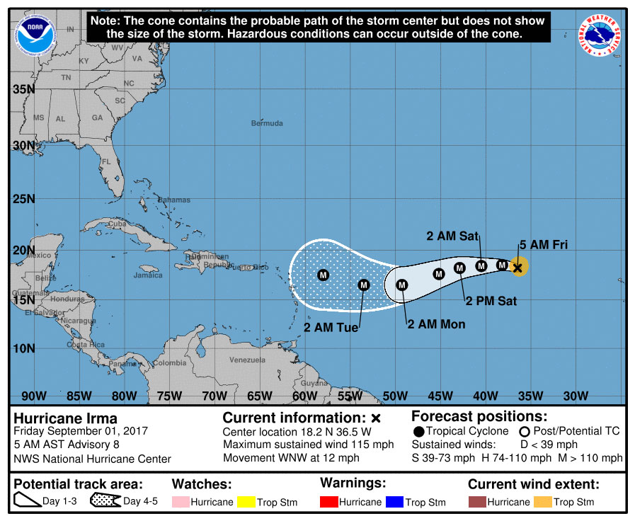 Posible trayectoria del Huracán Irma. Imagen tomada de NOAA.