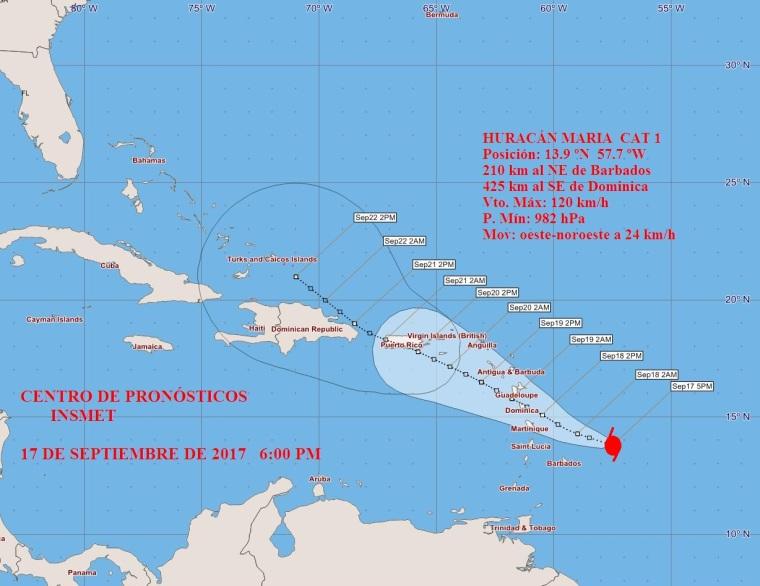 Posible trayectoria del Huracán María. Fuente: Instituto de Meteotología de Cuba.