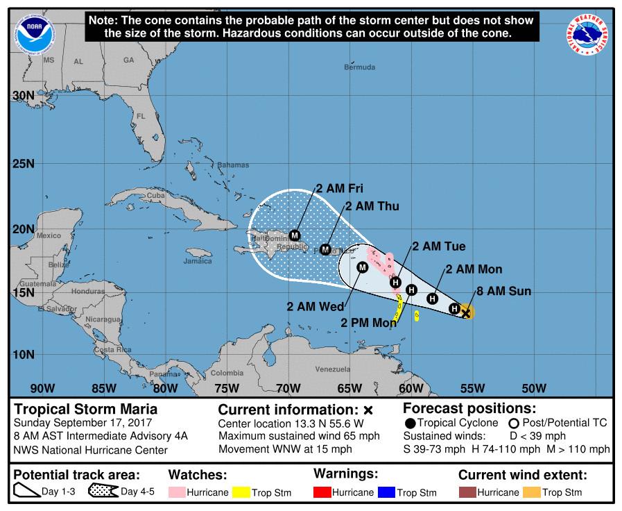 La Tormenta Tropical María amenaza el Caribe.