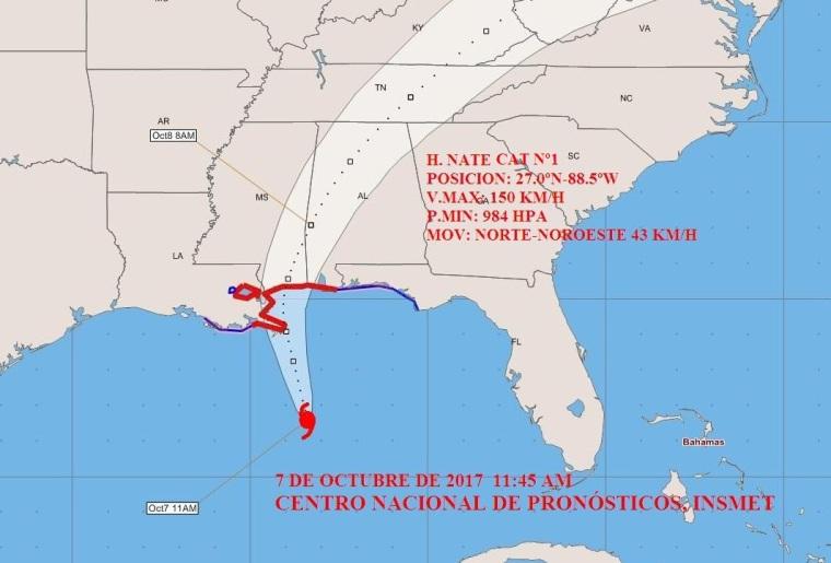 Cono de trayectoria del huracán Nate. Fuente: Instituto de Meteorología de Cuba.