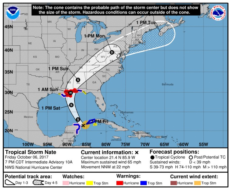 Cono de posible trayectoria de la Tormenta Tropical Nate. Foto: NHC.