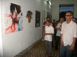 El independentista puertoriqueño Oscar López Rivera visita la sede del Fondo Cubano de Bienes Culturales, donde compartió con trabajadores y artistas. VDC FOTO/Luis Ernesto Ruiz Martínez.