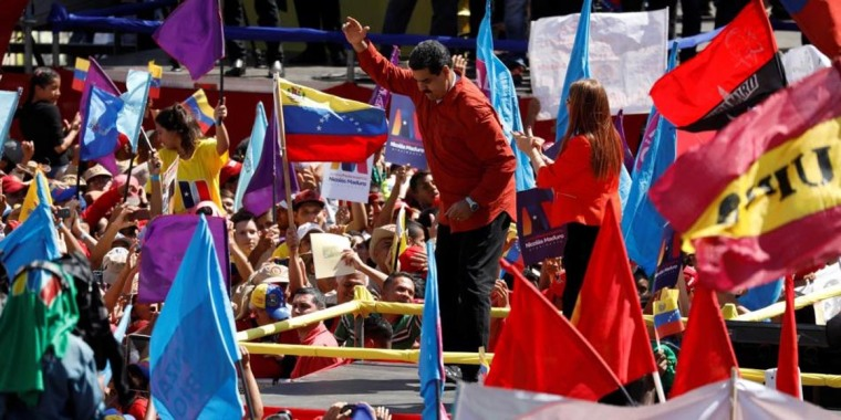 Nicolás Maduro en la celebración de la inscripción de su candidatura en Caracas. Foto: Marco Bello / Reuters
