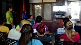 Estudiantes y profesores de la Universidad de Holguín participan en el avispero Voto #PorCuba. Sede José de la Luz y Caballero el 2 de marzo de 2018. UHO FOTO/Heidi Marlen Viguera.