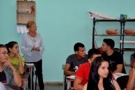 Asamblea de la FEU de la Brigada de primer año de Licenciatura en Español, donde fue elegida la Primera Delegada Directa de la UHo al Noveno Congreso FEU. La asamblea contó con la presencia de Raúl Alejandro Palmero Fernández, Presidente Nacional de la FEU. UHO FOTO/Luis Ernesto Ruiz Martínez.
