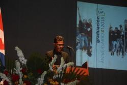 Glessler Ramos Giral, Licenciado en Turismo, habla en nombre de los egresados durante el acto de Graduación del curso regular diurno de la Universidad de Holguín, efectuado en el Teatro Comandante Eddy Suñol, el domingo 15 de julio de 2018. UHo FOTO/Torralbas.
