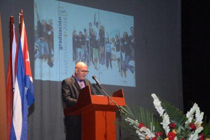 El Dr. C. Reynalodo Velázquez Zaldívar, Rector de la UHo, durante el acto de Graduación del curso regular diurno de la Universidad de Holguín, efectuado en el Teatro Comandante Eddy Suñol, el domingo 15 de julio de 2018. UHo FOTO/Torralbas.