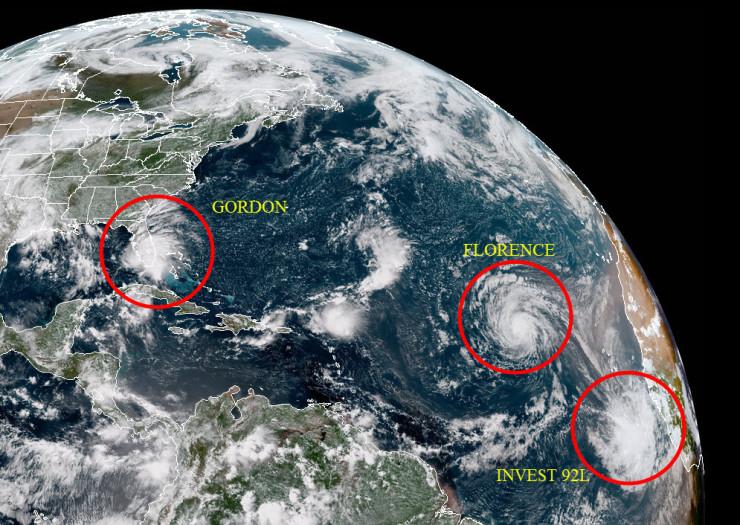 Imagen tomada del Atlántico por el satélite GOES-16 al final de esta tarde. Se Observa a GORDON, FLORENCE, y a la fuerte Onda Tropical INVEST 92L, a la que, por su posible importancia futura, dedicaré la parte final de este trabajo.