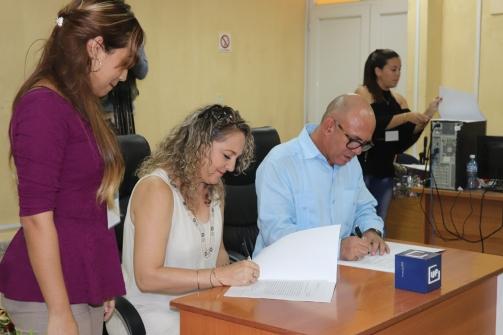Firma de convenio marco de colaboración con la Delegación Provincial de Cultura. Desarrollado en la sede Celia Sánchez Manduley, el 01 de noviembre de 2018-UHO/Foto: Yudith Rojas Tamayo